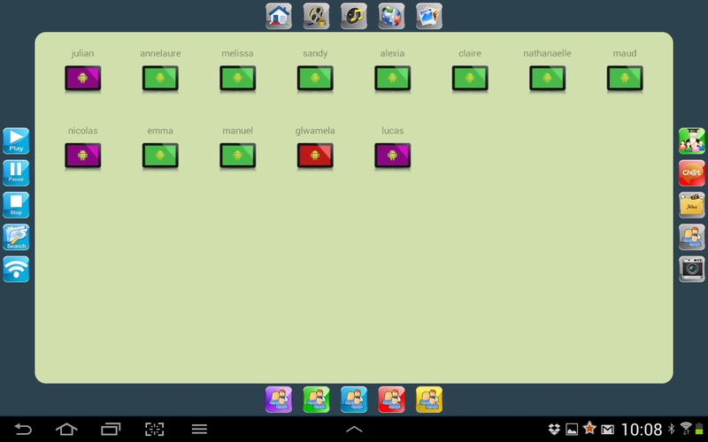 Gestion des élèves et transferts/diffusion depuis la tablette professeur